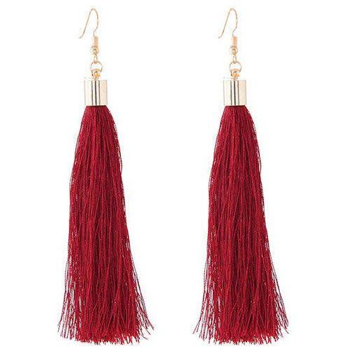 Kolczyki długie wiszące frędzle chwost bordowe - bordowe, kolor czerwony