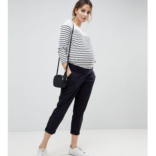 ASOS DESIGN Maternity chino trousers in navy with under the bump waistband - Blue
