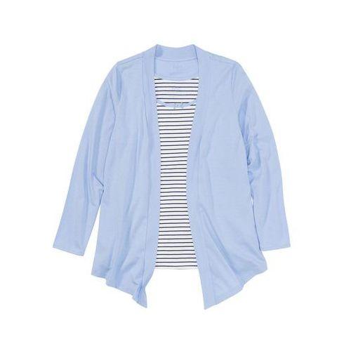Wdzianko shirtowe z topem niebieski w paski, Bonprix