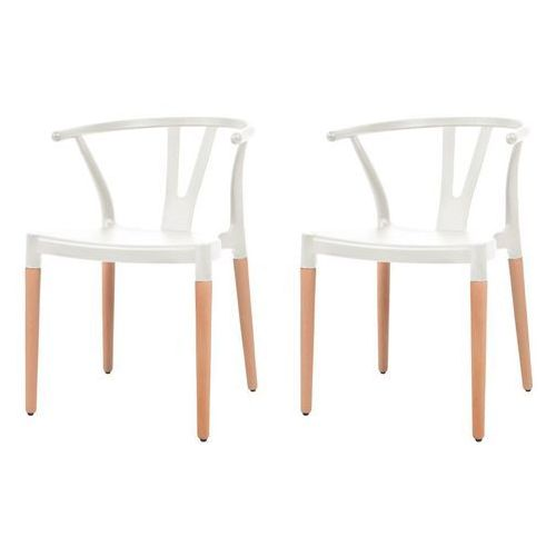 Komplet 2 krzeseł, białe, plastikowe siedziska i stalowe nogi, kolor biały