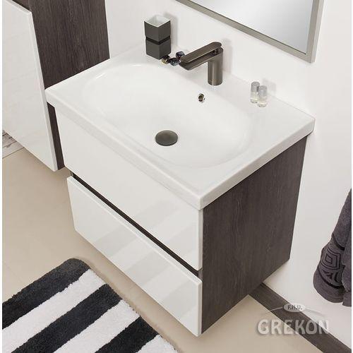 Szaro-biała szafka łazienkowa LED z umywalką 65/46 Grace Gante, kolor szary