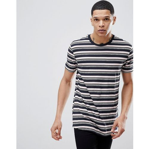 t-shirt with stripes in navy and pink - pink, Bershka, XS-M