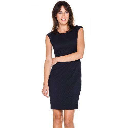 Granatowa sukienka w żakardowy wzór - marki Potis & verso