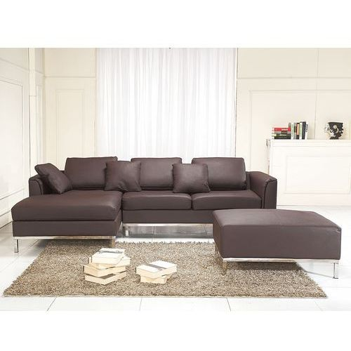 Sofa narożna p – skórzana – brązowa - sofa z pufą - kanapa oslo marki Beliani