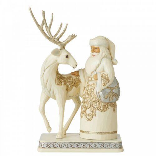 Biały jeleń i mikołaj silver/gold santa w/reindeer 6006615 figurka ozdoba świąteczna marki Jim shore