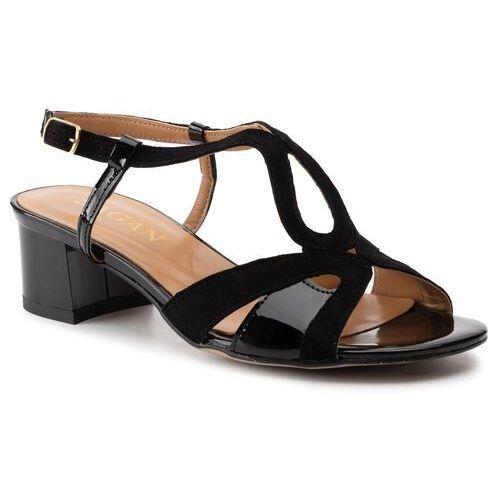 Sandały - 3624 czarny lakier/czarny welur marki Sagan