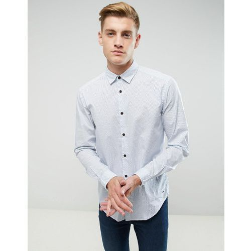 shirt in slim fit with all over ditsy print - white marki Esprit