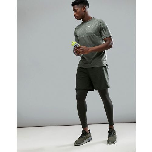 Nike Running Flex Challenger 7 Inch Shorts In Khaki With Print 943148-355 - Green
