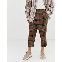 ASOS DESIGN drop crotch tapered smart trouser in brown wool mix check - Brown, wełna