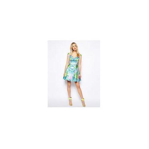 ASOS EXCLUSIVE Sukienka rozkloszowana bardotka w kwiaty