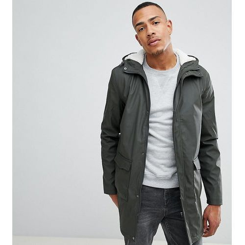 tall shine fishtail hooded mac with borg lining - green, French connection