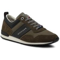 Sneakersy TOMMY HILFIGER - Iconic Material Mix Runner FM0FM02273 Olive Night 010, kolor zielony