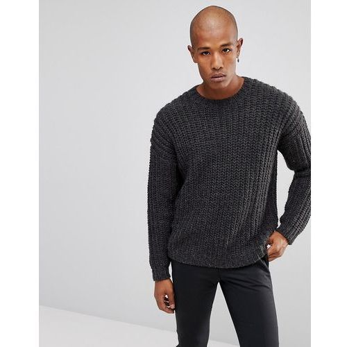 heavyweight fisherman rib relaxed fit jumper in washed black - black, Asos