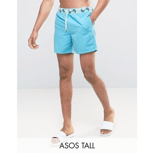 tall swim shorts with contrast geo print waistband in short length - blue marki Asos