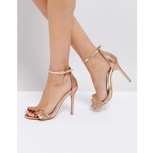 frill front barely there sandals - gold, River island