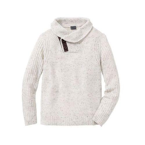 Sweter regular fit ciemnoniebiesko-czerwono-biel wełny wzorzysty marki Bonprix