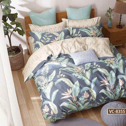 Pościel satynowa 160x200 wzór egzotyczne liście plus kaktusy