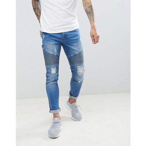 Threadbare skinny fit biker jeans in mid blue - blue