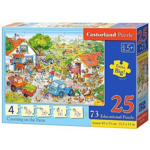 Castor Puzzle edukacyjne. liczenie na farmie. 25 elementów + 73 sztuki kafli edukacyjnych