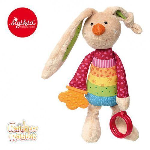 przytulanka aktywizująca królik rainbow z obręczami, gryzakiem, grzechotką i szeleszczącą folią marki Sigikid
