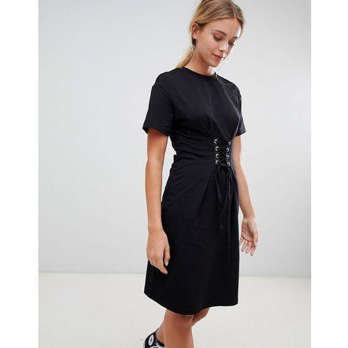 midi dress with lace up detail - black, Glamorous, 34-36