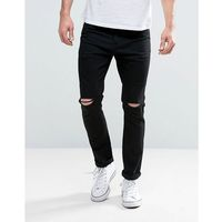 Brave Soul Skinny Black Jeans with Knee Rips - Black