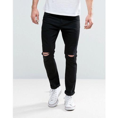 Brave Soul Skinny Black Jeans with Knee Rips - Black, kolor czarny