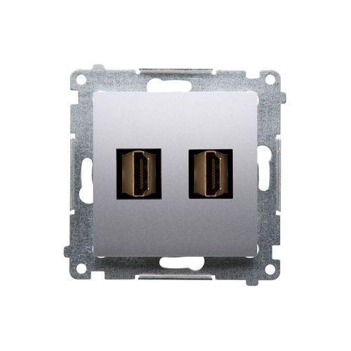 Gniazdo HDMI Simon 54 DGHDMI2.01/43 podwójne srebrny mat Kontakt-Simon (5902787557843)