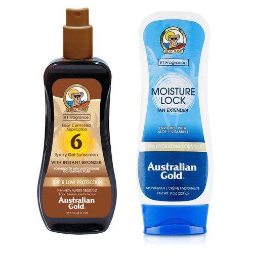 Australian Gold SPF 6 Spray Gel Bronzer and Moisture Lock | Zestaw do opalania: spray do opalania z bronzerem 237ml + balsam po opalaniu 227g