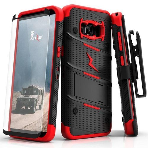 Zizo bolt cover etui pancerne samsung galaxy s8+ plus (black/red) + szkło hartowane na ekran