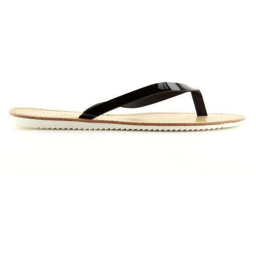 Buty obuwie damskie Klapki, japonki biała podeszwa ls-76 czarne