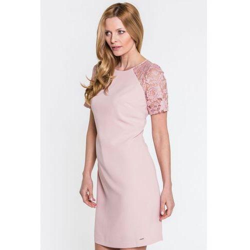 Różowa sukienka z koronką - EMOI, kolor różowy