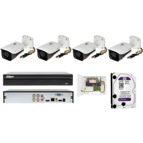 Kompletny zestaw na 4 kamery full hd do monitorowania hal magazynowych marki Dahua