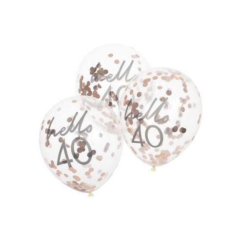 Balony lateksowe przezroczyste Hello 40 z konfetti - 30 cm - 5 szt.