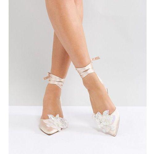 Asos wonderlust bridal wide fit embellished mid heels - beige