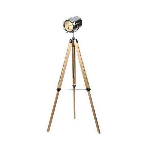 Lampa stojąca podłogowa MAXlight Foto 1x40W E27 chrom / drewno F0032, F0032