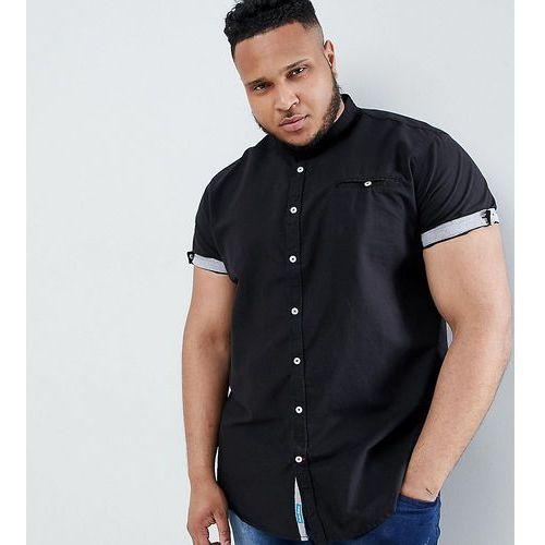 king size collarless short sleeve oxford shirt - black marki Duke