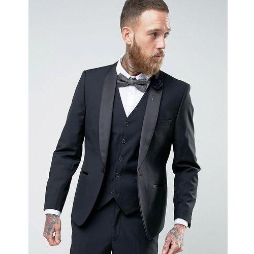 French connection slim fit black shawl collar tuxedo jacket - black