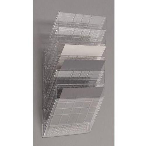 Durable Uchwyt ścienny na prospekty, format poziomy, 6 x din a4, opak. 2 szt., przezrocz