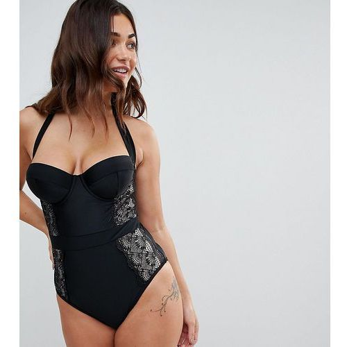 Wolf & whistle fuller bust lace swimsuit dd - g cup - black