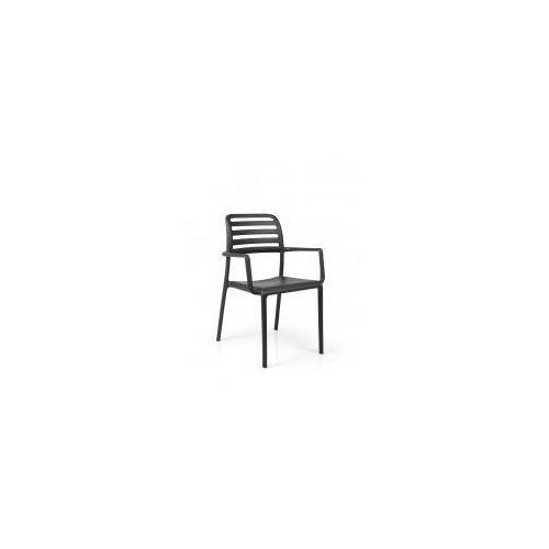 Krzesło Costa z podłokietnikami czarne, kolor czarny