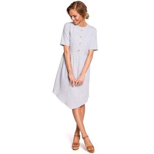 f44eec70d7 Szara rozkloszowana asymetryczna sukienka z ozdobnymi guzikami marki Moe