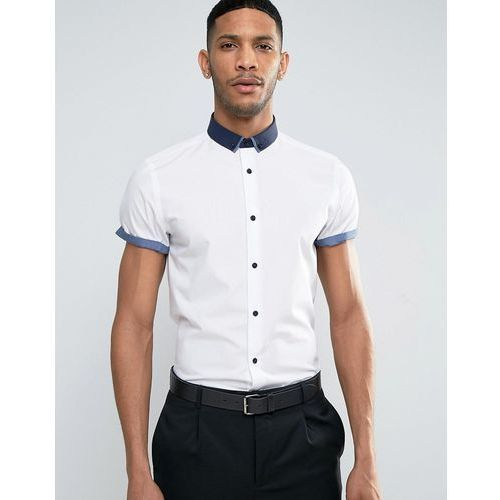 New Look Regular Fit Smart Shirt With Contrast Collar And Sleeve Trims - White