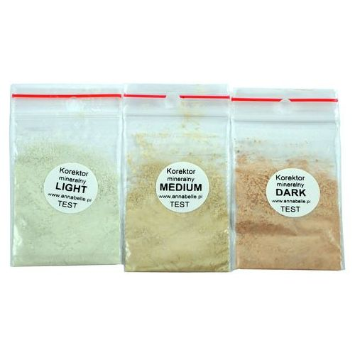 Wzornik odcieni korektorów - 3 próbki w woreczkach strunowych marki Annabelle Minerals
