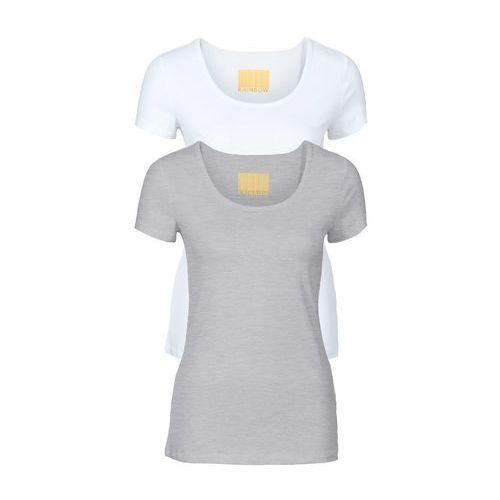 Bonprix T-shirty damskie z okrągłym dekoltem (2 szt.) biały + jasnoszary melanż