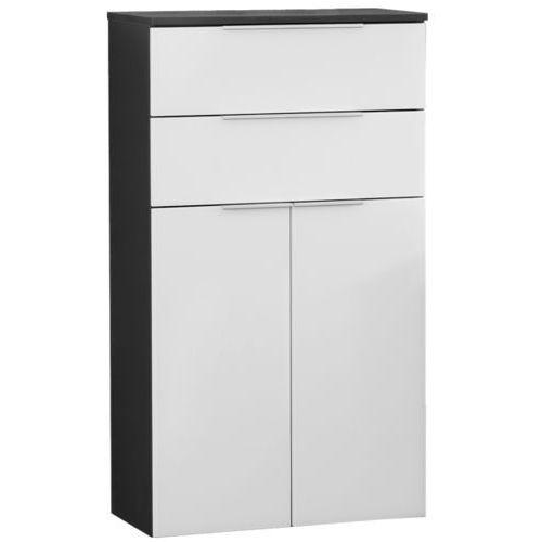 Szafka łazienkowa biało-czarna, 2-drzwiowa, 2 szuflady Kara Chess (4008033809245)