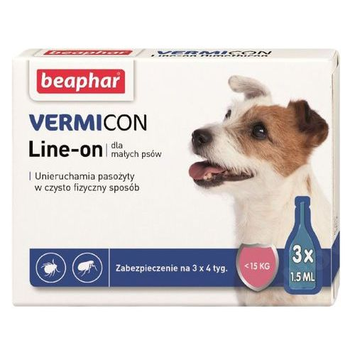 Beaphar Vermicon Line-On krople dla psów do 15kg 3x1.5ml, 108