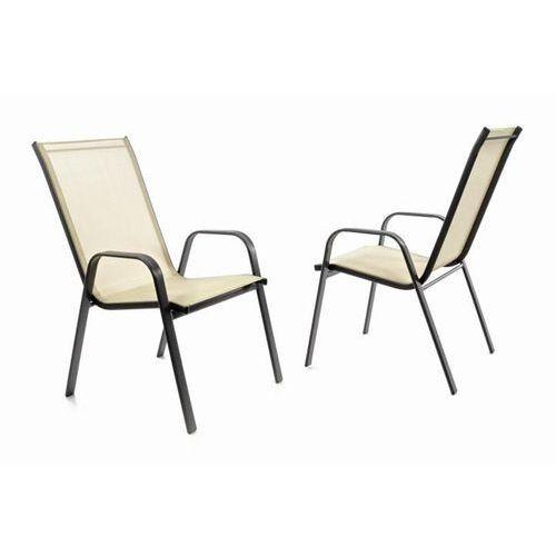 Zestaw ogrodowy 2 krzesła balkonowe do ustawiania w stos - kremowe
