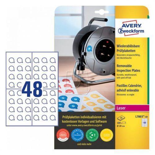 Tabliczki inspekcyjne usuwalne  20mm 10 arkuszy l7803-10 marki Avery zweckform