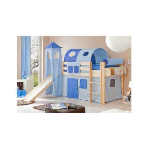 Ticaa kindermöbel Ticaa łóżko ze zjeżdżalnią i wieżą kasper sosna naturalnia/jasnoniebieski-ciemnoniebieski (4250393812612)